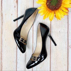Jimmy Choo Black Patent Buckle Stiletto Heels